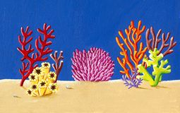 Coral reef under the sea illustration. Acrylic illustration of the Coral reef under the sea illustration Stock Photos