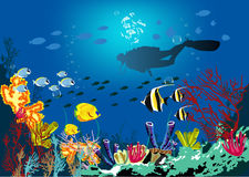 Coral reef with various species of fish. Underwater tropic life concept. Coral reef with various species of fish and silhouette of diver over blue sea background Stock Photo
