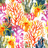 Coral reef watercolor pattern Royalty Free Stock Photo