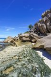 Coral reef and big granite rocks with palms at the beach of gran Royalty Free Stock Photo