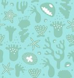 Coral reefs seamless pattern, decorative monochrome background, vector nautic texture, sealife. Coral reefs seamless pattern, decorative monochrome background Stock Images