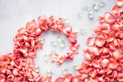 Coral rose petals on marble, color of the year - flower backgrounds and holidays concept. Coral rose petals on marble, color of the year - flower backgrounds and royalty free stock photo