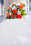 Coral roses, white daisies, bridal, wedding bouquet Stock Image