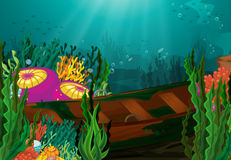 Coral and rowboat in deep sea Royalty Free Stock Images