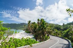 Coral sandy beach among the palm trees along the road. Seychelle Stock Photography