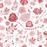 Coral Seamless Pattern Papier peint botanique de texture de cru de fleur de ressort d'?t? de fleurs color?es florales de jardin,  illustration de vecteur