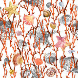 Coral and seashell seamless pattern. Royalty Free Stock Image