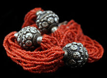 Coral and silver necklace Stock Image