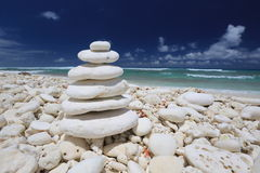 Coral stone pyramid on the beach Royalty Free Stock Photo