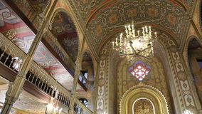 Coral Temple in Bucharest - mosaic worship place interior. Coral Temple interior architecture - jewish community synagogue in Bucharest stock video footage