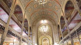 Coral Temple - mosaic worship place interior. Coral Temple interior architecture - jewish community synagogue in Bucharest, Romania stock video footage