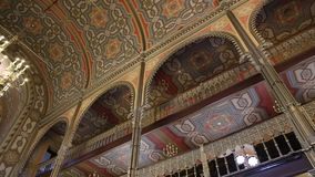 Coral Temple - mosaic worship place interior. Coral Temple interior architecture - jewish community synagogue in Bucharest, Romania stock video