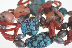 Coral, turquoise and silver necklace Royalty Free Stock Images