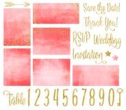 Coral Wedding Invitation Watercolor Set illustrazione di stock