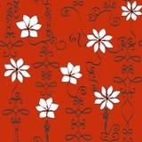Coral Wrought Iron Flowers Repeat-Patroon Vectorachtergrond royalty-vrije illustratie