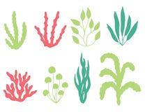 Coralli e siluetta colorati di vettore dell'alga Isolato su bianco royalty illustrazione gratis