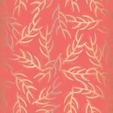 Corallo senza cuciture floreale del modello di vettore della stagnola di rame illustrazione vettoriale