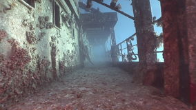 Corals on deck of sunken ship Salem Express underwater in Red Sea in Egypt. Extreme tourism on the ocean floor in the world of coral reefs, fish, sharks stock footage