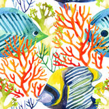 Corals and fishes seamless pattern. Watercolor background Royalty Free Stock Photography