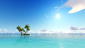 Corals Island Sea 3D rendering. Corals Island Sea and blue sky 3D rendering Stock Image