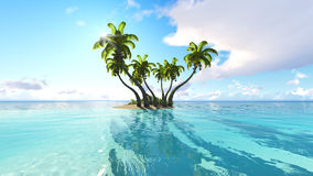 Corals Island Sea 3D rendering. Corals Island Sea and blue sky 3D rendering Stock Images