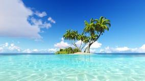 Corals Island Sea 3D rendering Royalty Free Stock Photos