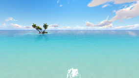 Corals Island Sea 3D rendering. Corals Island Sea and blue sky 3D rendering Royalty Free Stock Photography