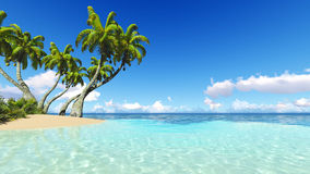 Corals Island Sea 3D rendering Royalty Free Stock Image