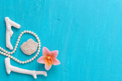Corals and pearls Stock Photos