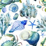 Corals with shells and crabs stock illustration