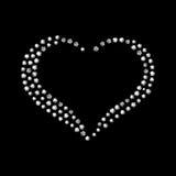 Coração brilhante do diamante do vetor no fundo preto Imagens de Stock Royalty Free