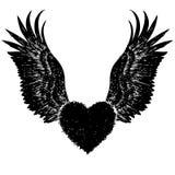 Coração com asas do anjo Imagens de Stock