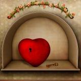 Coração com chave Imagens de Stock