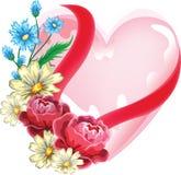 Coração com flores Fotos de Stock