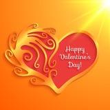 Coração com rotulação do dia de Valentim feliz Imagens de Stock Royalty Free