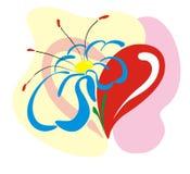 Coração com uma flor Foto de Stock