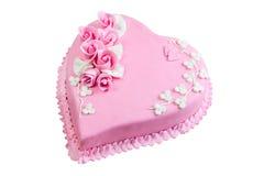 Coração cor-de-rosa do bolo Fotos de Stock
