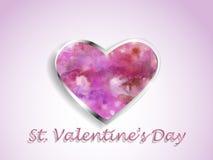 Coração da aquarela em um fundo da cor Foto de Stock