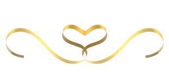 Coração da fita do ouro Fotografia de Stock Royalty Free