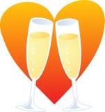 Coração de Champagne Imagem de Stock Royalty Free