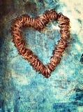 Coração de Grunge na parede azul Imagem de Stock
