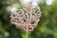 coração de madeira da forma 3d Imagens de Stock