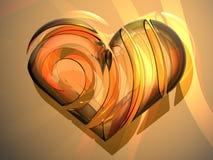 coração de vidro do amor 3D Fotografia de Stock Royalty Free