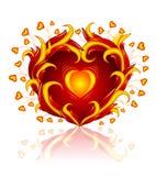 Coração do amor que queima-se na chama Fotos de Stock