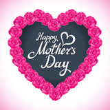 Coração do dia da mãe da rosa do rosa feito das rosas roxas isoladas no fundo branco Fundo floral do vetor da forma do coração Imagem de Stock Royalty Free
