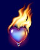 Coração do gelo no incêndio Imagens de Stock Royalty Free