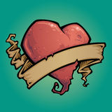 Coração do tatuagem com fita Foto de Stock Royalty Free