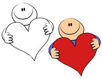 Coração do Valentim da terra arrendada do indivíduo dos desenhos animados Fotos de Stock Royalty Free