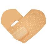 Coração dobrado faixa dos primeiros socorros Fotografia de Stock Royalty Free