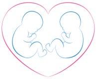 Coração dos bebês dos gêmeos Fotos de Stock Royalty Free